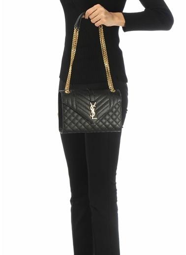 Saint Laurent Saint Laurent Medium  Logolu Kadın Deri Omuz Çantası 101621850 Siyah
